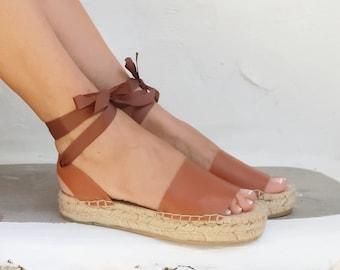 FLATFORM ESPADRILLES in TAN . Summer Flat Shoes. Handmade Greek Sandals. Leather Greek Sandals