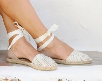 LEATHER ESPADRILLES SANDALS in White. Summer Flat Shoes. Handmade Greek Sandals. Boho Women's Shoes. Gift for Her. Flatform Shoes
