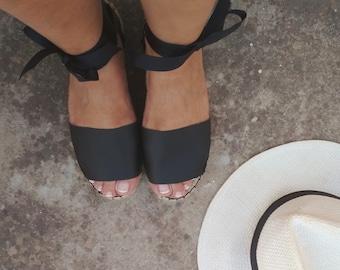VEGAN ESPADRILLES SANDALS in Black. Summer Flat Platform Shoes. Handmade Greek Sandals.