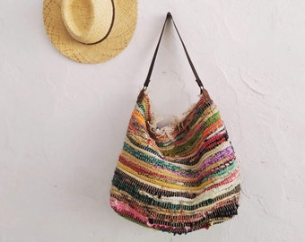 Hobo Kilim Shoulder Bag.  Large Boho Book Bag. Boho Tote Bag. Colorful Fabric Hippie Bag. Gift for Niece