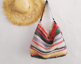 Hobo Kilim Shoulder Bag. Bright Colored Large Boho School Bag. Boho Tote Book  Bag. Colorful Womens Hippie Bag. Gift for Sister. Greek Gifts