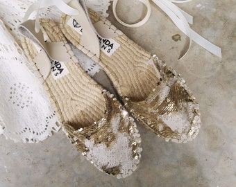 FLAT BRIDAL SHOES in Champagne Gold. Wedding Lace up Espadrilles. Ballerina shoes.