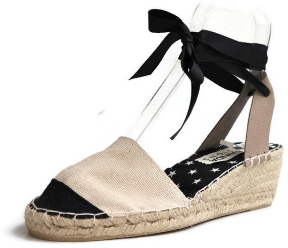 reasonable price uk store hot sale Size 38 Low Wedges Espadrilles. Stylish and Comfortable Espadrilles Sandals  in Black and White.