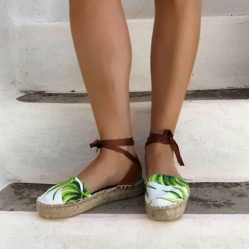d680e30bfa52 Espadrille Sandals. Tropical Print Lace up Espadrilles. Summer | Etsy