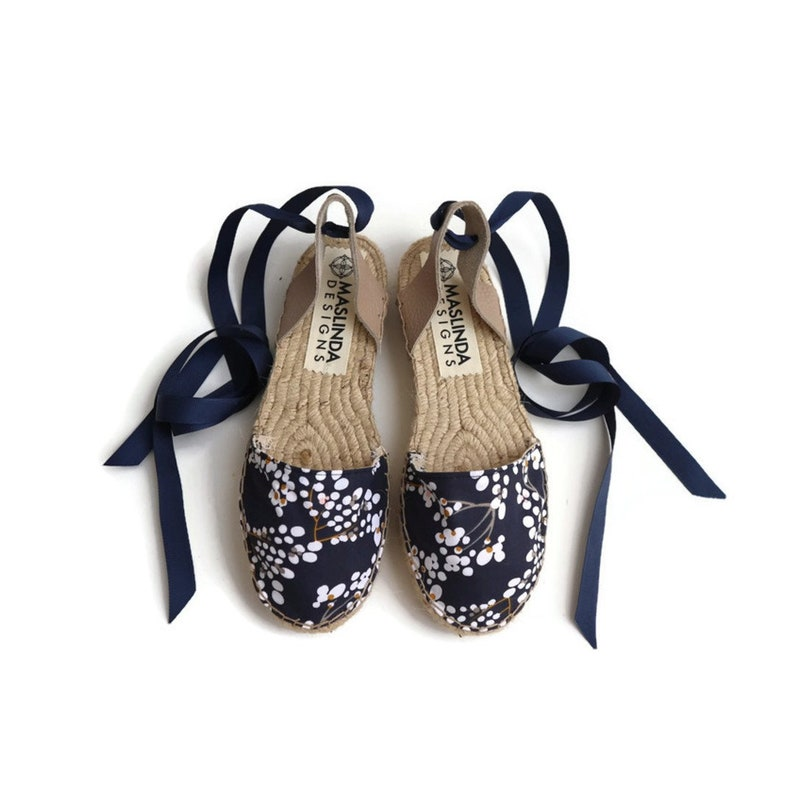 70371a5eee9419 Blossom Print Lace up Espadrilles. Summer Leather and Fabric... Espadrille  Sandals. Blossom Print Lace up Espadrilles. Summer Leather and Fabric Shoes.