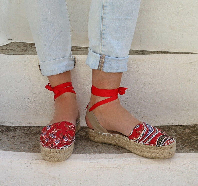 Espadrille Greek Gift Women's And SandalsLace Her Leather Red In PaisleySummer Fabric Up ShoesBoho Espadrilles For SzMUVpqG