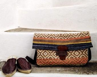BOHO BAGUETTE BAG. Colorful Shoulder Bag. Klim Bag. Cross Body. Adjustable Strap. Cinnamon Color