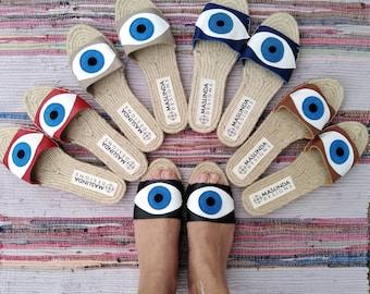 EVIL EYE SANDALS. Leather Slides Sandals. Flat Summer Shoes for Women. Handmade Espadrilles
