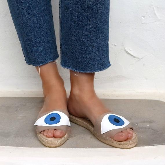 EVIL EYE SANDALS in Beige. Leather Espadrilles Slides Shoes for Women. Handmade Greek Sandals