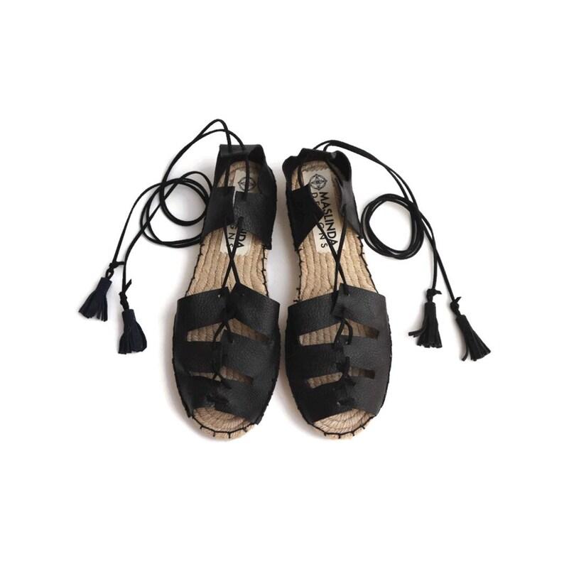 6c53831f8 Black Gladiator Sandals. Lace Up Espadrilles. Leather Greek | Etsy