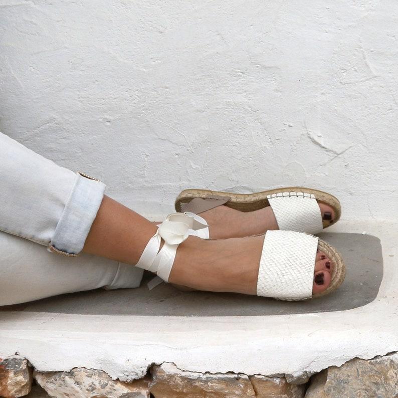 bebe91a9ccf6 White Espadrille Sandals. Leather Espadrilles. Summer Flat