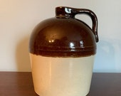 Antique beehive stoneware salt glaze whisky jug brow and white quot Pat App for quot