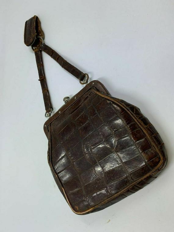 Antique Edwardian Alligator Leather Chatelaine Vic
