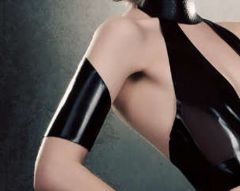 Latex Elektra armbands in black or any colour  Unisex  lingerie