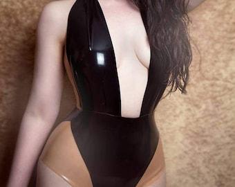 Latex Bodysuit Elissa in Black with Translucent Natural panels. Lingerie.