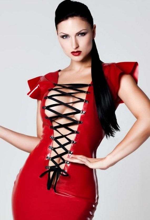 Latex Clothing Front Lace Up Mini Dress In Red Or Black Velvet Ribbon Lingerie