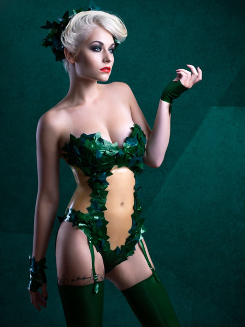 Latex clothing Poison Ivy Body suit in Metallic Green and Forest Green Cosplay Lingerie