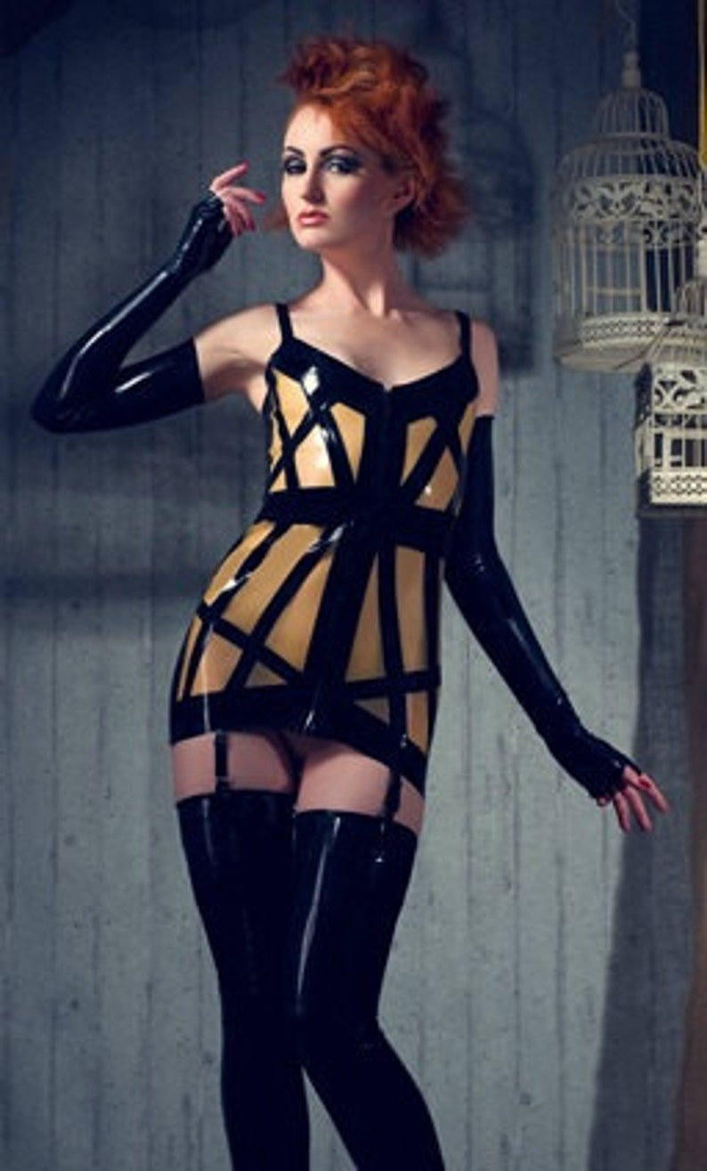 Latex Dress Cage with suspenders in Black and Translucent image 0