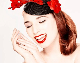 Latex clothing Wild Orchid fascinator hat in Red or any other colors.