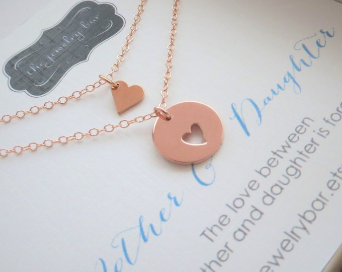 rose gold mother daughter necklace gift for mother from daughter heart cutout valentine
