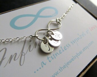 Dainty personalized infinity necklace , initial necklace , friendship , bff jewelry , holiday gift, best friends, mom, mommy