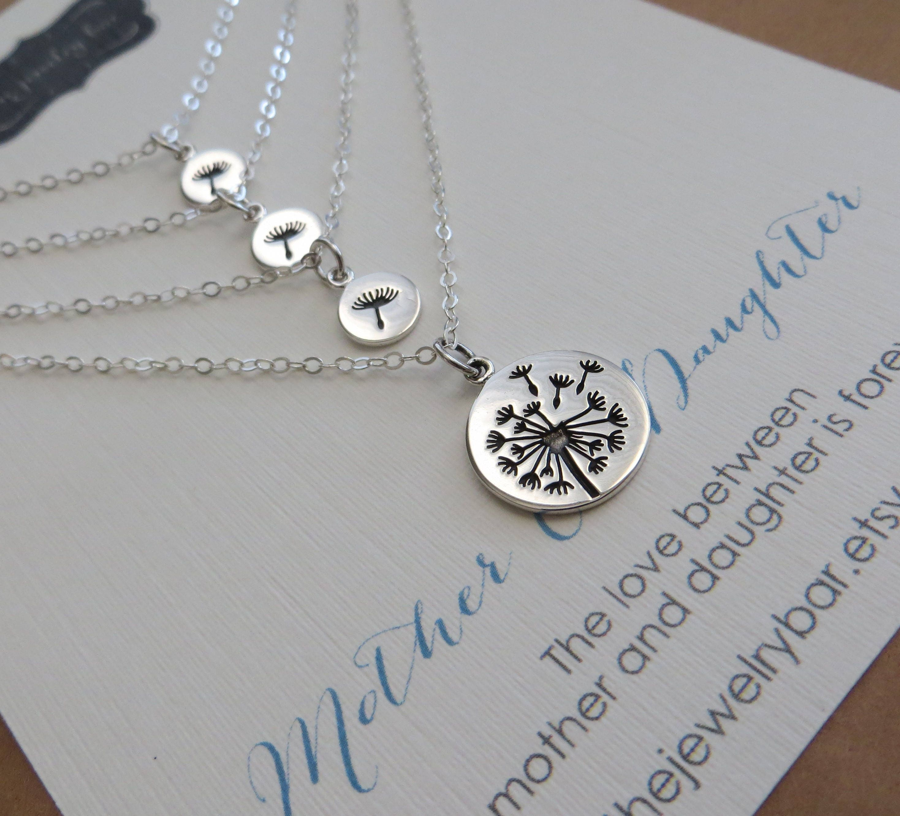 a431bdfd2c9c9 Mother 3 daughter jewelry, Dandelion charm necklace set, sterling silver or  bronze, gift for mom, nature, family, mother daughters gift