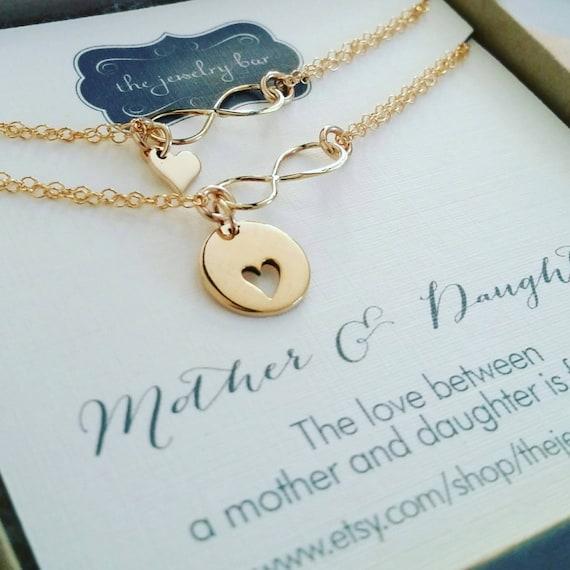 Mother daughter infinity heart bracelet set