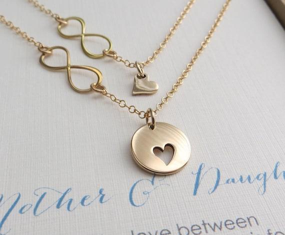 Iets Nieuws moeder dochter cadeau moeder van dochter ketting sets hart | Etsy @AS46