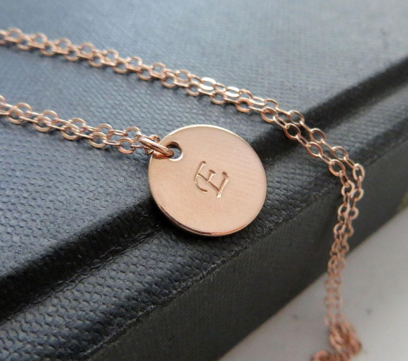 personalized jewelry gift for her rose gold filled hand stamped letter round disk custom initial Rose gold initial necklace