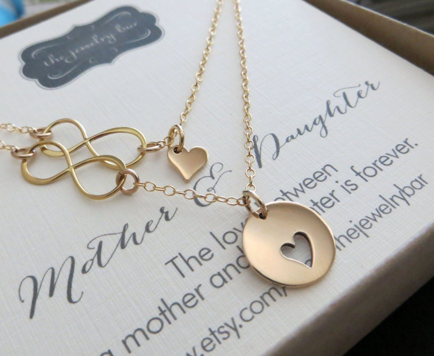 Mom Gift Mother Daughter Infinity Necklace Set Of 2 Mother
