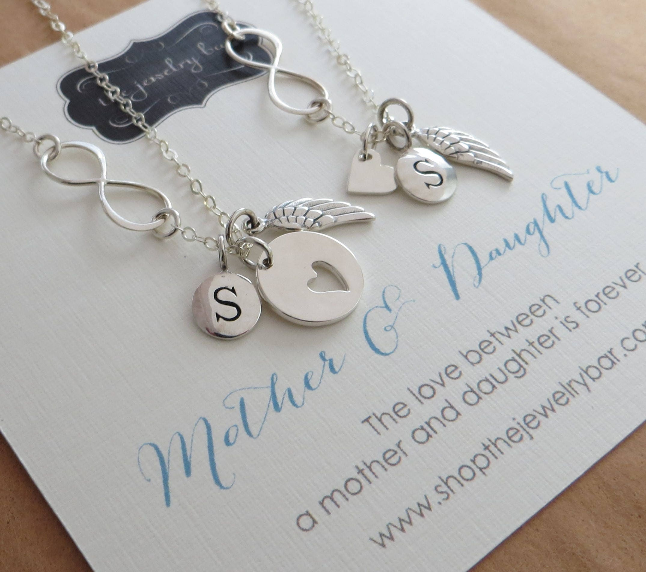 unique Christmas gift for mom, mother daughter angel wing & infinity ...