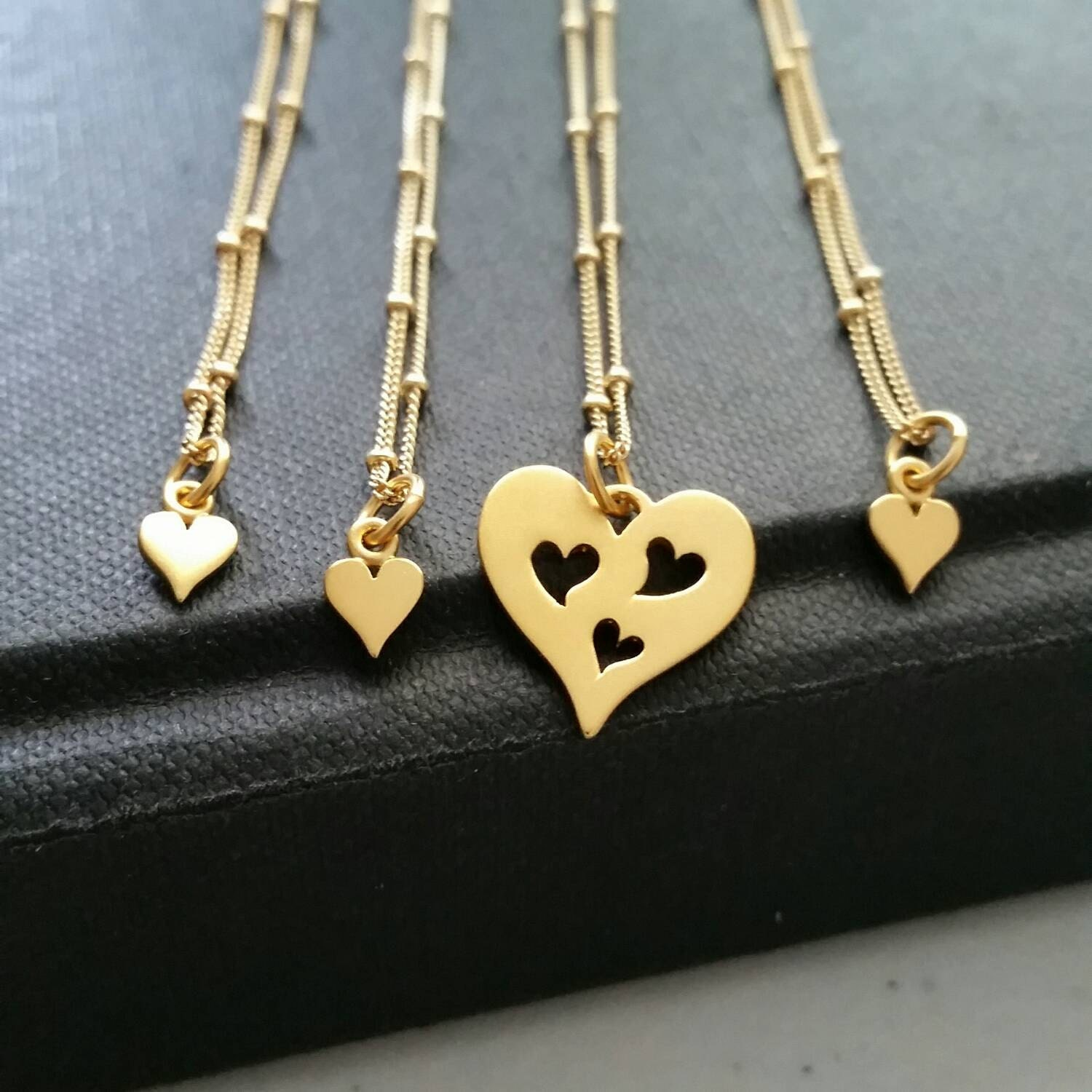 a5096c822beee Mother & 3 daughters necklace set, mom birthday gift, 24k gp heart cutout  charm, mothers day gift, mom of three children, satellite chain