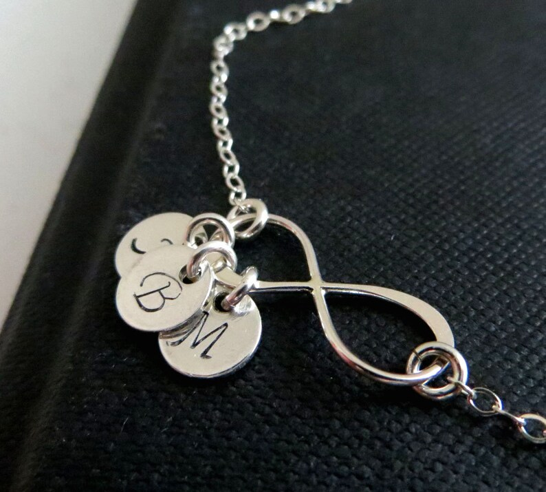 friendship bff jewelry mom holiday gift mommy Dainty personalized infinity necklace initial necklace best friends