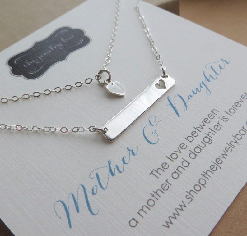 Mother Daughter Bar Necklace New Mom Gift And Baby