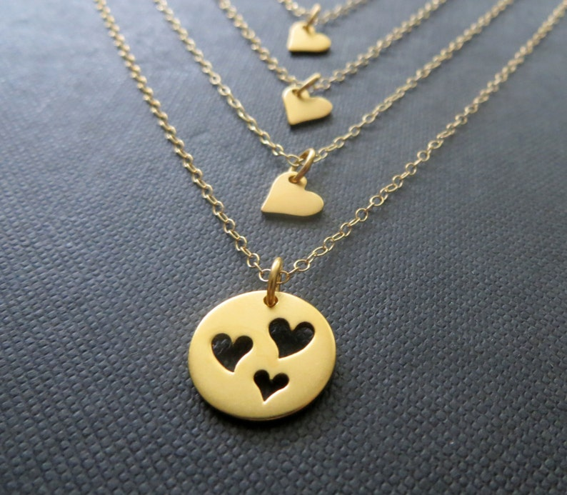 99436ab1f19a4 Mother 3 daughter necklace , mother gift, three daughters necklace, mother  daughters jewelry, gift for mom of 3 children, gold vermeil