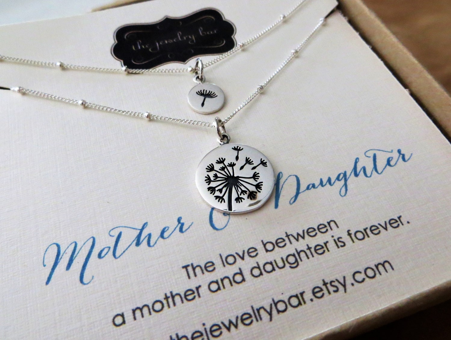 Mother daughter dandelion necklace, Christmas gift, wedding gift ...