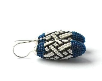 dangle earrings  indigo blue white with silver hooks