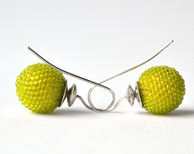 globe earrings chartreuse
