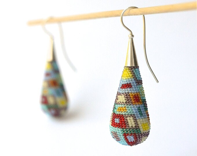 dangle earrings  big drop ear dangles , multicolor