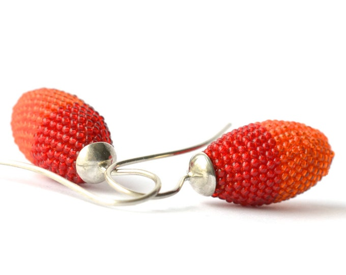 dangle earrings  red orange with silver hooks