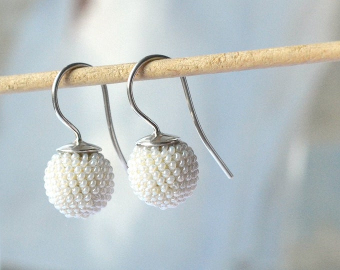 bridal earrings handmade antique glass beads white donauluft wedding earrings