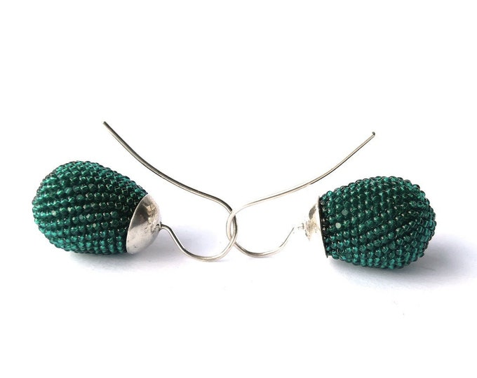drop ear dangles with silver hooks in emerald green