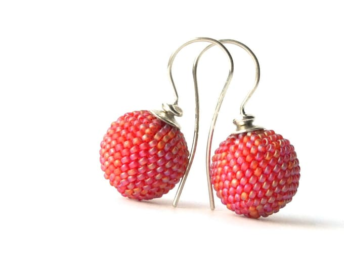 beaded globe earrings pink
