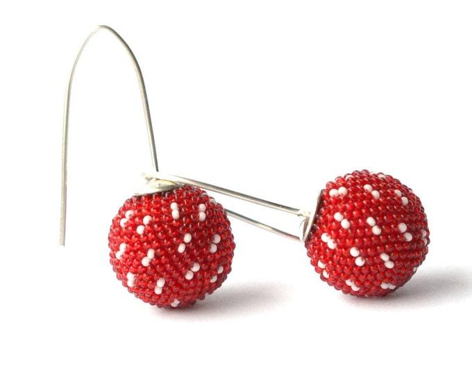 earrings red silver hooks sashiko style