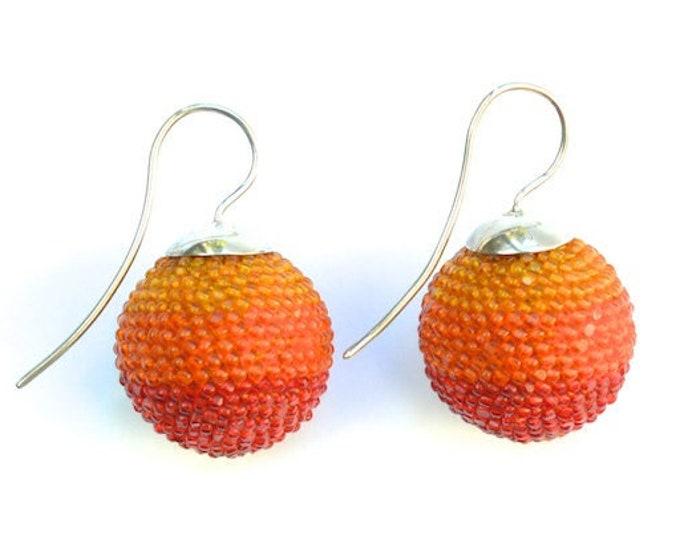 OOAK Ear jewelry globe earrings orange with silver hooks