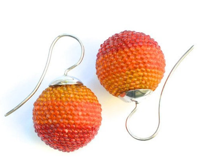 OOAK Ear jewelry globe earrings orange with silver hooks