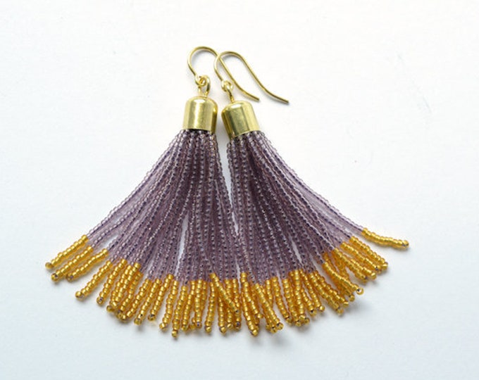 Tassel earrings glass beads long fringe dangle earrings