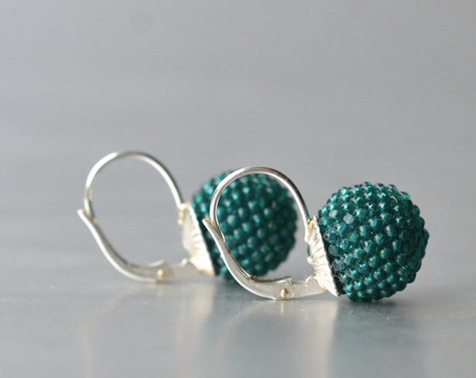 earrings emerald green with leverback in silver
