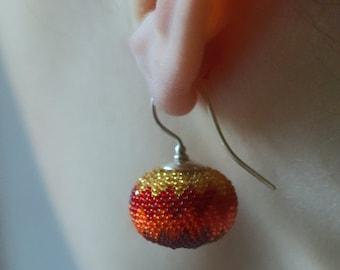 red earrings chevron