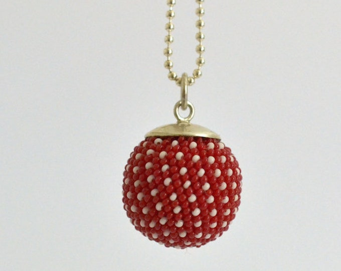 pendant red white silver necklace